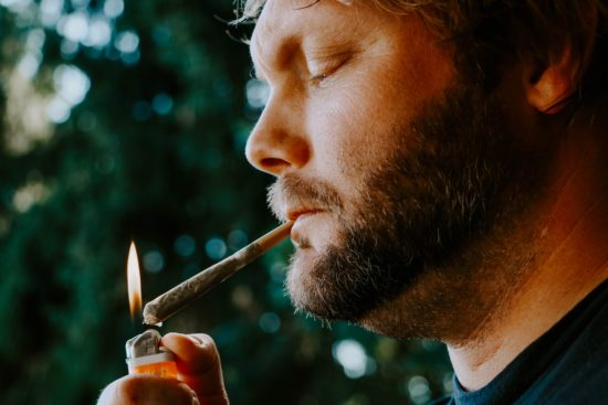 Father smoking a joint